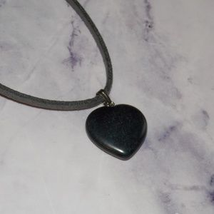 """Other - Black Stone Heart Necklace 28"""" Faux Suede Vegan"""